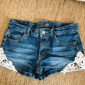 Girls Silver Lacy Jean Shorts